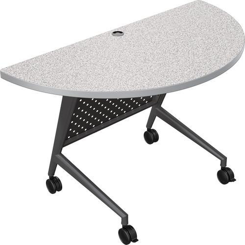 Balt Trend Fliptop & Conference Table (Half Round, Black Frame, Gray Nebula Laminate, Platinum Edge)