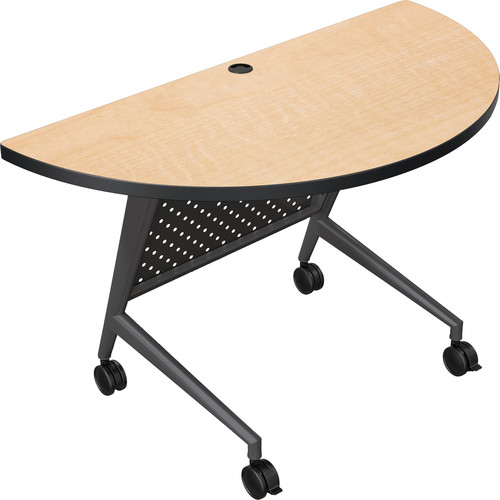 Balt Trend Fliptop & Conference Table (Half Round, Black Frame, Fusion Maple Laminate, Black Edge)
