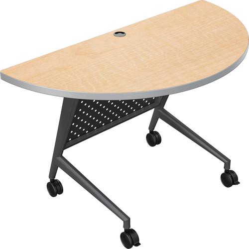 Balt Trend Fliptop & Conference Table (Half Round, Black Frame, Fusion Maple Laminate, Platinum Edge)