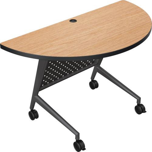 Balt Trend Fliptop & Conference Table (Half Round, Black Frame, Castle Oak Laminate, Black Edge)