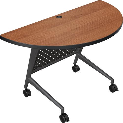 Balt Trend Fliptop & Conference Table (Half Round, Black Frame, Amber Cherry Laminate, Platinum Edge)