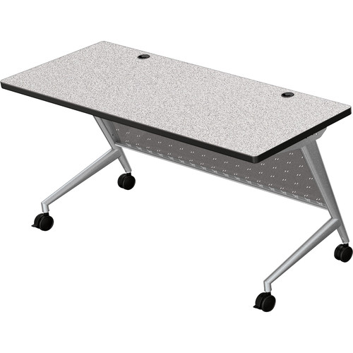 "Balt Trend Fliptop & Conference Table (60"" Long, Silver Frame, Gray Nebula Laminate, Black Edge)"