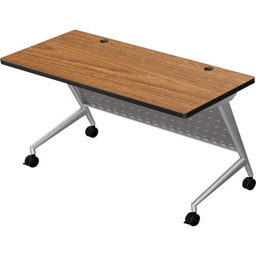 "Balt Trend Fliptop & Conference Table (60"" Long, Silver Frame, Nepal Teak Laminate, Black Edge)"