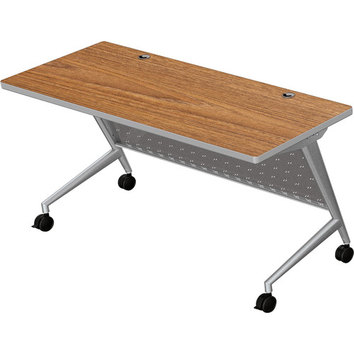 "Balt Trend Fliptop & Conference Table (60"" Long, Silver Frame, Nepal Teak Laminate, Platinum Edge)"