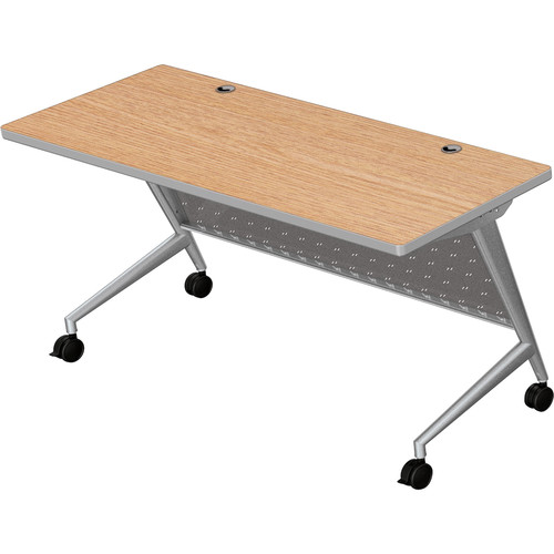 "Balt Trend Fliptop & Conference Table (60"" Long, Silver Frame, Castle Oak Laminate, Platinum Edge)"
