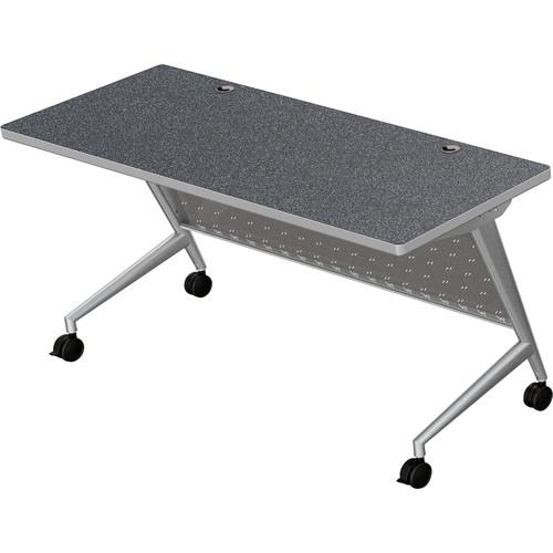 "Balt Trend Fliptop & Conference Table (72"" Long, Silver Frame, Graphite Nebula Laminate, Platinum Edge)"