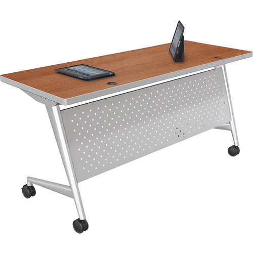 "Balt Trend Fliptop & Conference Table (72"" Long, Silver Frame, Amber Cherry Laminate, Platinum Edge)"