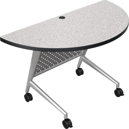 Balt Trend Fliptop & Conference Table (Half Round, Silver Frame, Gray Nebula Laminate, Black Edge)