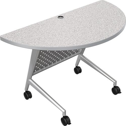 Balt Trend Fliptop & Conference Table (Half Round, Silver Frame, Gray Nebula Laminate, Platinum Edge)