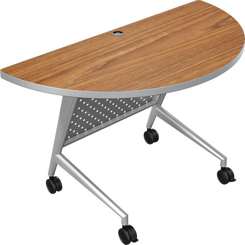 Balt Trend Fliptop & Conference Table (Half Round, Silver Frame, Nepal Teak Laminate, Platinum Edge)
