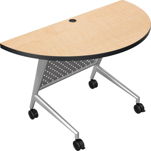 Balt Trend Fliptop & Conference Table (Half Round, Silver Frame, Fusion Maple Laminate, Black Edge)