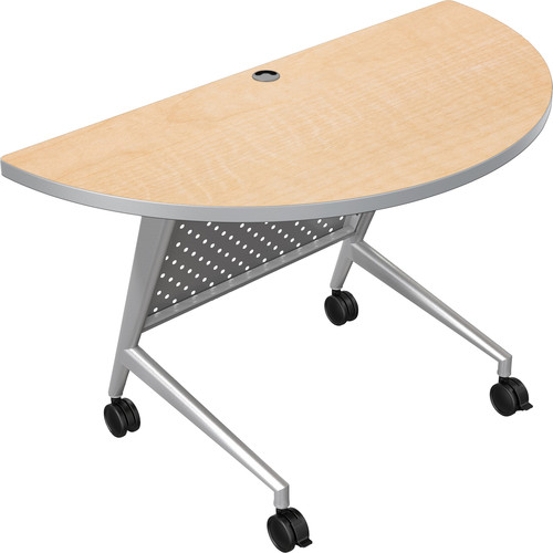Balt Trend Fliptop & Conference Table (Half Round, Silver Frame, Fusion Maple Laminate, Platinum Edge)