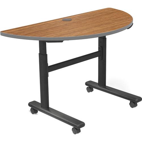 Balt Height Adjustable Sit and Stand Flipper Table (Half Round, Nepal Teak Laminate, Platinum Edge)