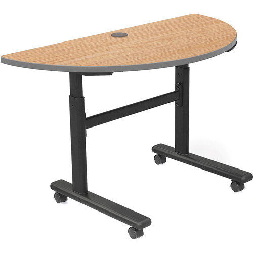 Balt Height Adjustable Sit and Stand Flipper Table (Half Round, Castle Oak Laminate, Platinum Edge)