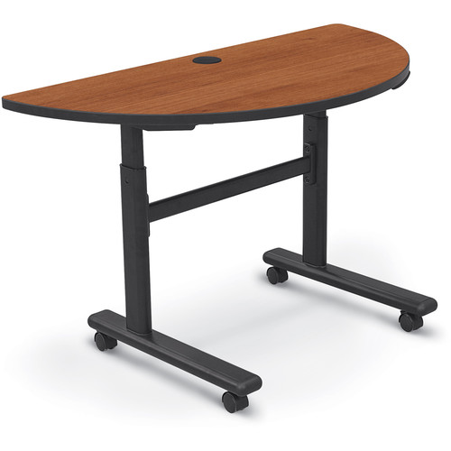 Balt Height Adjustable Sit and Stand Flipper Table (Half Round, Amber Cherry Laminate, Platinum Edge)