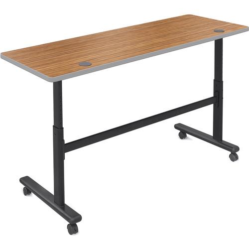 "Balt Height Adjustable Sit and Stand Flipper Table (60"" Long, Nepal Teak Laminate, Platinum Edge)"