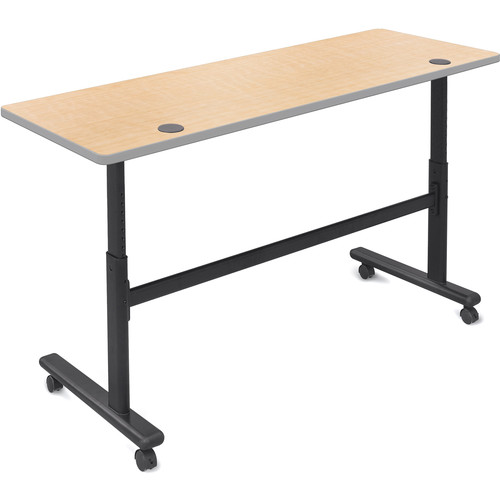 """Balt Height Adjustable Sit and Stand Flipper Table (60"""" Long, Fusion Maple Laminate, Platinum Edge)"""