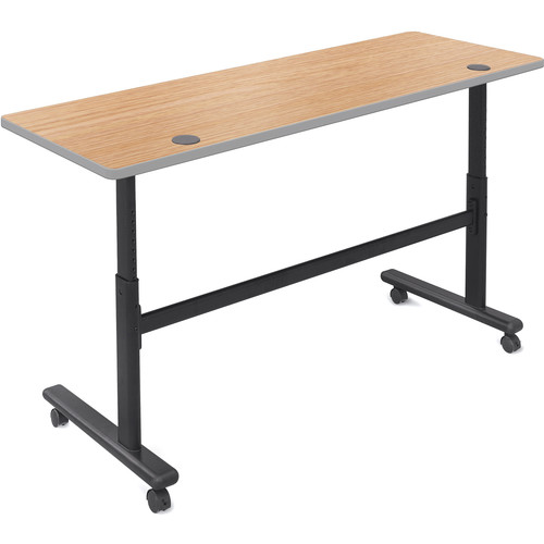 "Balt Height Adjustable Sit and Stand Flipper Table (60"" Long, Castle Oak Laminate, Platinum Edge)"