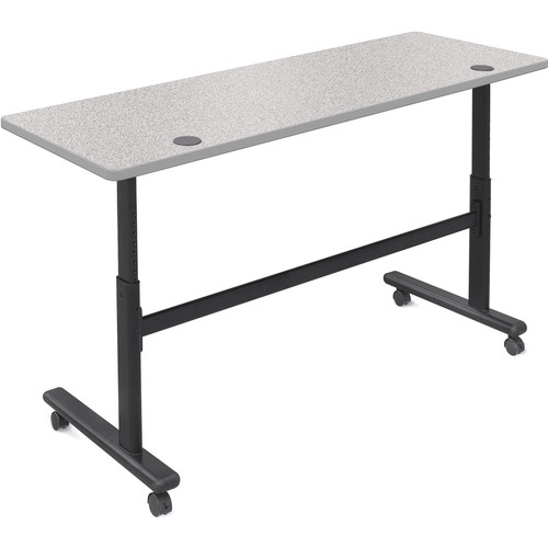 "Balt Height Adjustable Sit and Stand Flipper Table (72"" Long, Gray Nebula Laminate, Platinum Edge)"