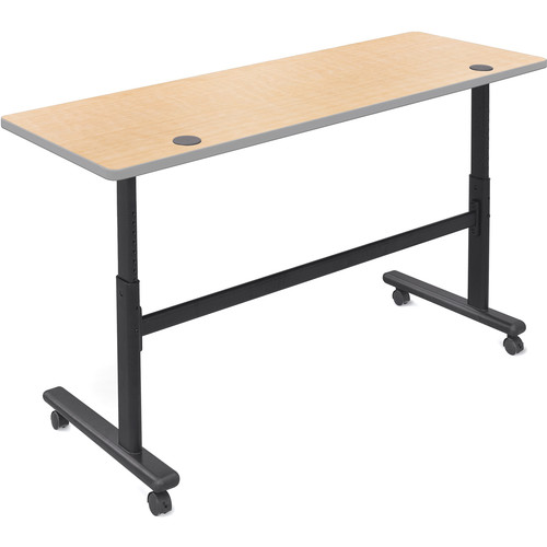 """Balt Height Adjustable Sit and Stand Flipper Table (72"""" Long, Fusion Maple Laminate, Platinum Edge)"""