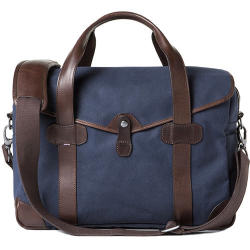 Barber Shop Medium Messenger Bob Cut Borsa Camera Bag (Canvas & Leather, Blue & Brown)