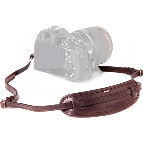 "Barber Shop Leather Camera Neckstrap ""Moustache"" (Dark Brown)"