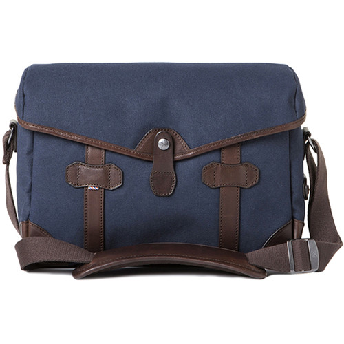 Barber Shop Small Messenger Pageboy Camera Bag (Blue Canvas & Brown Leather)
