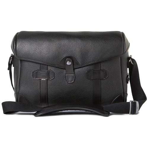 Barber Shop Small Messenger Pageboy Camera Bag (Black Grained Leather)