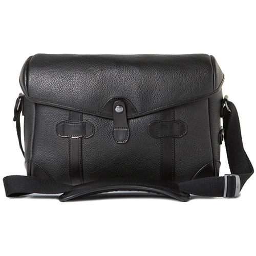 Barber Shop Small Messenger Pageboy Camera Bag (Black Grained Leather)