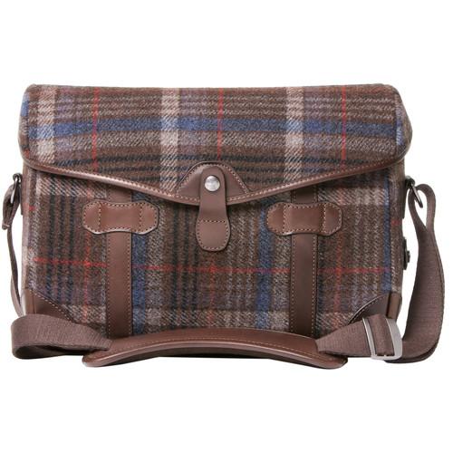 Barber Shop Small Messenger Pageboy Camera Bag (Tweed & Dark Brown Leather)