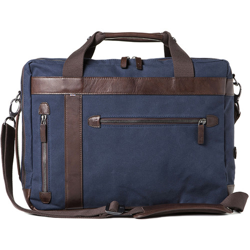 Barber Shop Undercut Convertible Camera Bag (Canvas & Leather, Blue & Dark Brown)