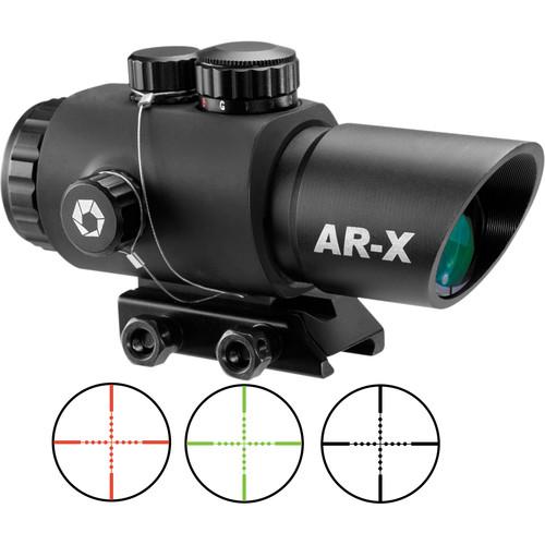 Barska 3x30mm AR-X Red-Green Prism Scope (Illuminated Mil-Dot Reticle, Matte Black)
