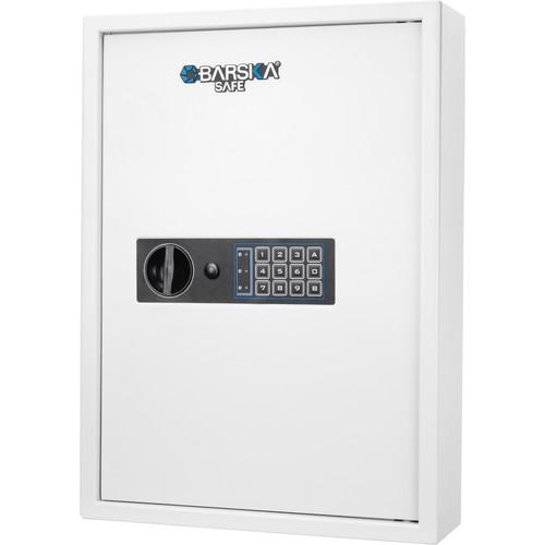 Barska 100-Key Cabinet Digital Wall Safe with Key Lock (White)