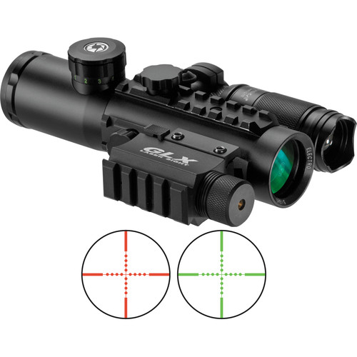 Barska 4x30 IR Electro Sight, GLX Green Laser, and LED Flashlight Kit (Red-Green Mil-Dot Illuminated Reticle, Matte Black)