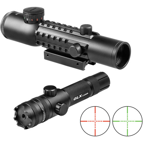 Barska 4x28 Multi-Rail Green Laser Combo (Red-Green Mil-Dot Illuminated Reticle)