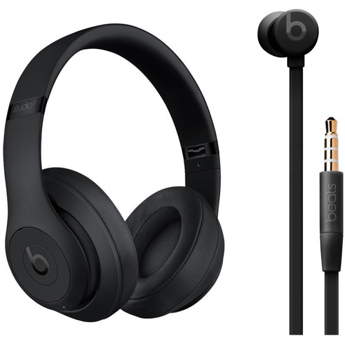 Beats by Dr. Dre Studio3 Wireless Noise-Canceling Headphones (Black) with urBeats 3 Kit (3.5mm, Black)
