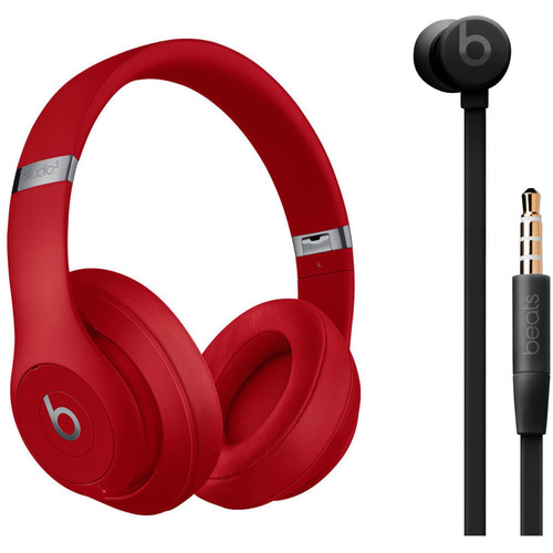 Beats by Dr. Dre Studio3 Wireless Noise-Canceling Headphones (Red) with urBeats 3 Kit (3.5mm, Black)
