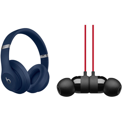 Beats by Dr. Dre Studio3 Wireless Noise-Canceling Headphones (Blue) with urBeats 3 Kit (3.5mm, Defiant Black/Red)