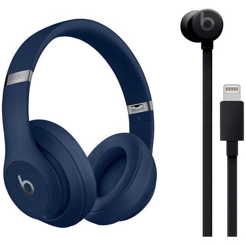 Beats by Dr. Dre Studio3 Wireless Noise-Canceling Headphones (Blue) with urBeats 3 Kit (Lightning, Black)