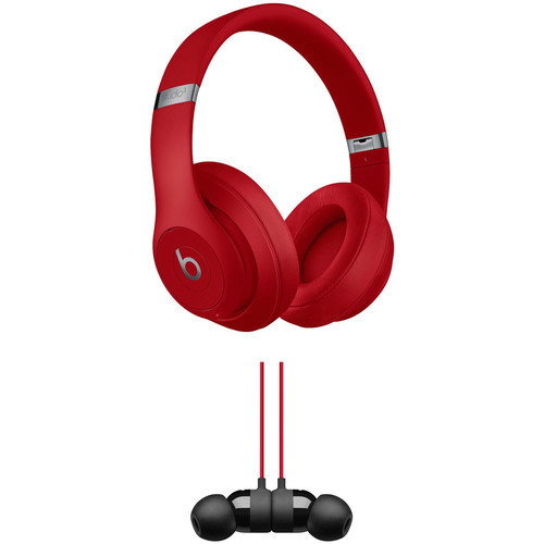 Beats by Dr. Dre Studio3 Wireless Noise-Canceling Headphones (Red) with urBeats 3 Kit (3.5mm, Defiant Black/Red)