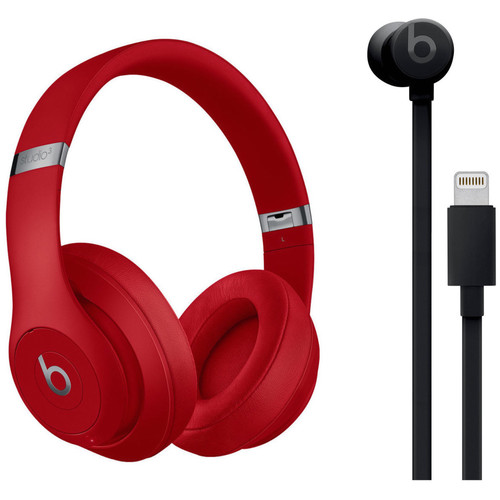 Beats by Dr. Dre Studio3 Wireless Noise-Canceling Headphones (Red) with urBeats 3 Kit (Lightning, Black)