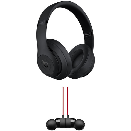 Beats by Dr. Dre Studio3 Wireless Noise-Canceling Headphones (Black) with urBeats 3 Kit (3.5mm, Defiant Black/Red)