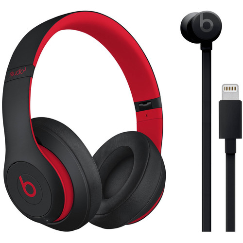 Beats by Dr. Dre Studio3 Wireless Noise-Canceling Headphones (Defiant Black/Red) with Lightning urBeats3 (Black) Kit
