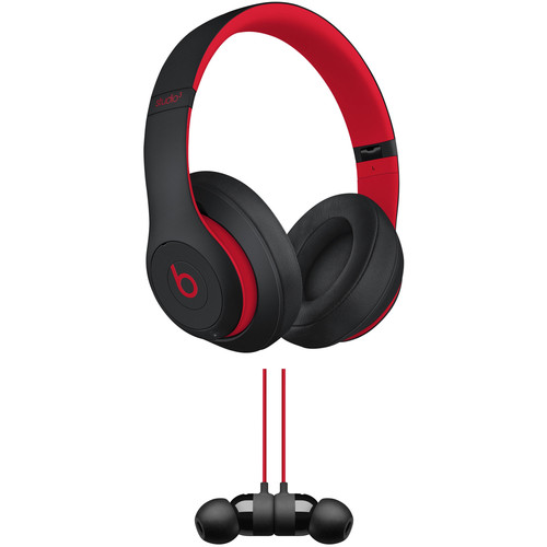 Beats by Dr. Dre Studio3 Wireless Noise-Canceling Headphones with urBeats3 Kit (Defiant Black/Red, 3.5mm)