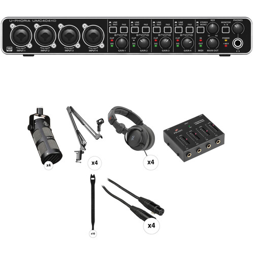 Behringer 4-Person Podcasting Kit with U-PHORIA UMC404HD Interface, Mics, Headphones, Stands & More