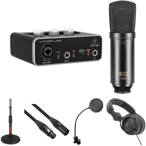Behringer U-PHORIA UM2 Interface Kit with MXL 440 Microphone, Mic Stand, Headphones & More