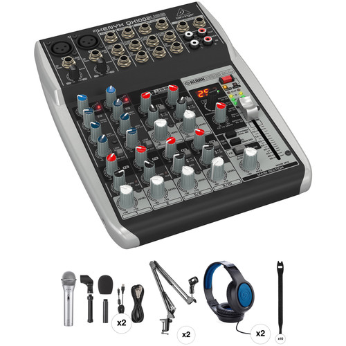 Behringer XENYX QX1002USB Podcasting Kit with 2 Samson Q2U Mic Packs, Stands, Headphones & Cables