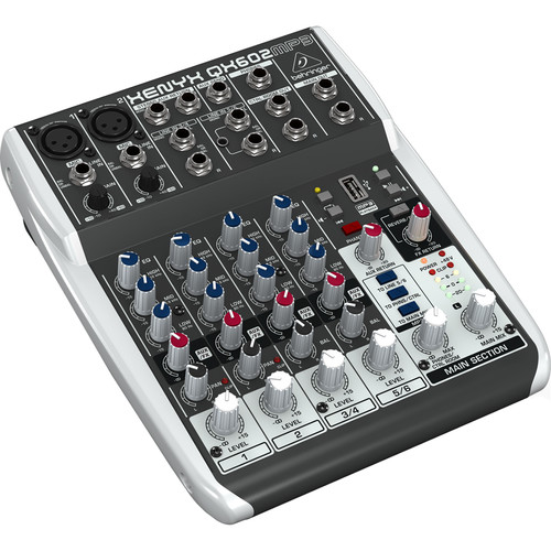 Behringer Xenyx QX602MP3 6-Input 2-Bus Analog Mixer with MP3 Player and Effects