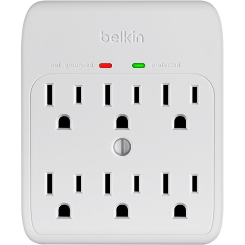 Belkin BSQ600bgW 6-Outlet Wall Mount Surge Protector (White)