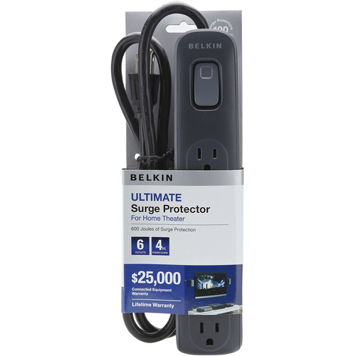 Belkin BV106000-04-BLK 6-Outlet Surge Protector with 4' Power Cord (Black)